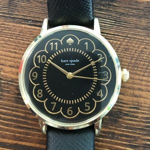 Kate Spade Black and Gold Scallop Watch